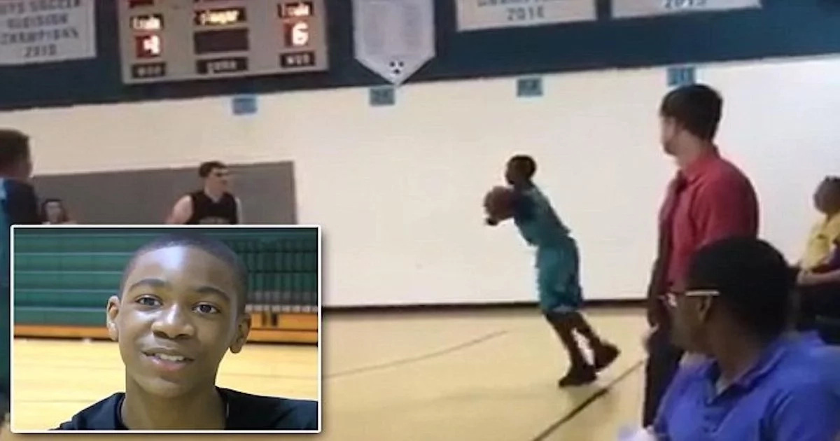 See touching moment how 13-year-old boy with no arms scores winning shot in basketball match (photos, video)