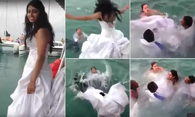 Bride nearly drowns with her own wedding dress (photos, video)