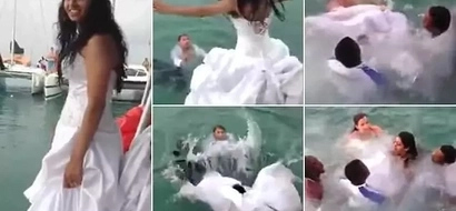 Near tragedy! Bride nearly DROWNS with her own wedding dress (photos, video)