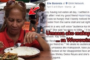 Netizen finds inspiration in strong half-blind woman who waited for hours to join Wowowin - her only hope after OFW husband left her w/ 7 kids