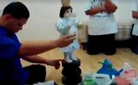 Miraculous dancing saint of Navotas caught on video