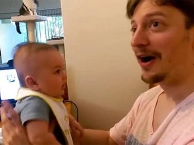 Bebé de 3 meses impacta a su papá diciendo 'Te quiero' — MÍRALO