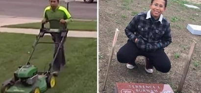 11-year-old boy mows lawns to buy gravestone for father he never knew