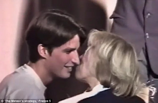Macron, then 15, is seen in a video footage kissing Brigitte, then aged 40, who was his drama teacher