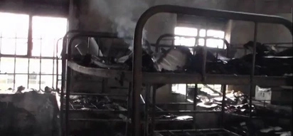 School girls retaliate by burning their dormitory after being banned from boys