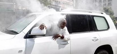 Police lob teargas inside NASA MP's car,hell breaks loose(photos)