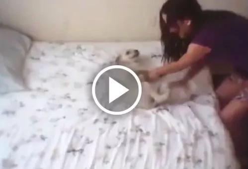 Perversa joven se graba mientras maltrata a su perro