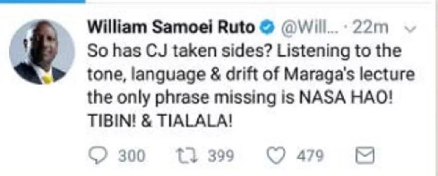 Jaji Mkuu Maraga anaongea lugha ya Raila-William Ruto