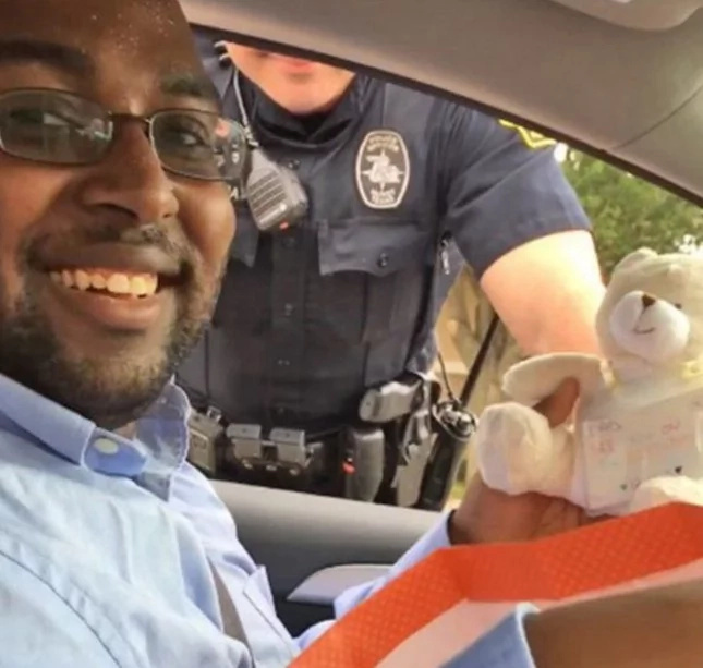 The policeman pulled over this guy and he got more than a ticket
