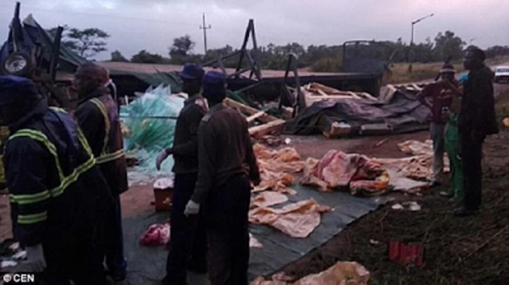 Double tragedy! Lorry loaded with glass overturns, kills 16 MOURNERS and smashes coffin