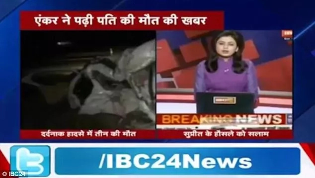 Indian news anchor learns of her husband's death live on air