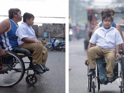 Wheelchair-bound father takes son to school in his wheelchair every day, earns praises and sympathy from netizens