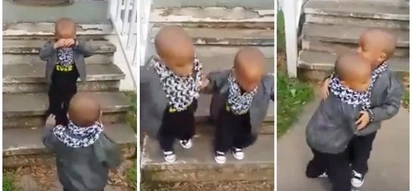Adorable! Boy cries when his twin brother goes down stairs without him - and then they make up