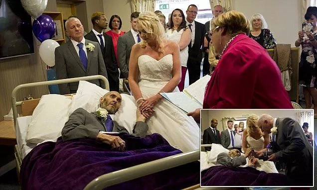 Terminally ill groom gets wish fulfilled as he marries his heartthrob on his death bed (photos)