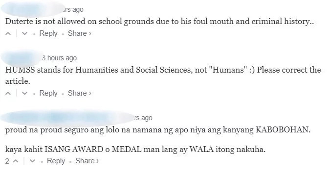 Pres. Duterte attends Isabelle Duterte's senior high school graduation, netizens commented 'fave apo' allegedly receives no award