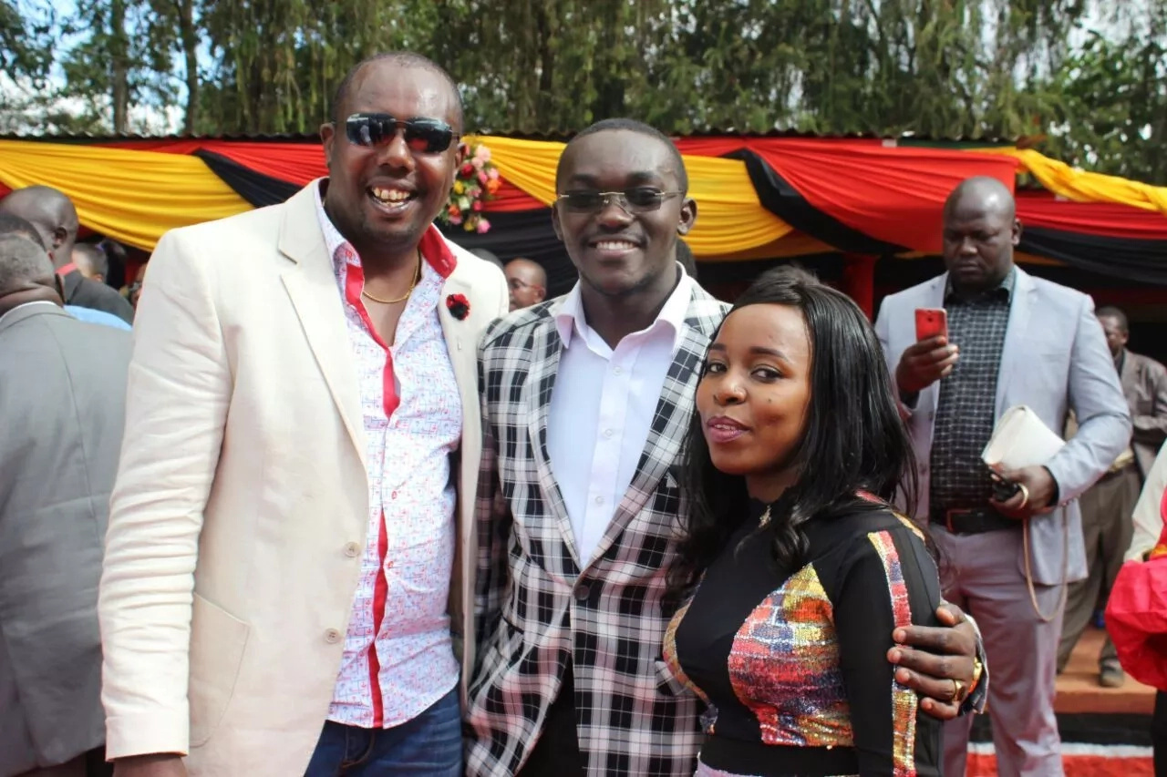 Saumu Mbuvi and her boyfriend arrive at rally in a chopper