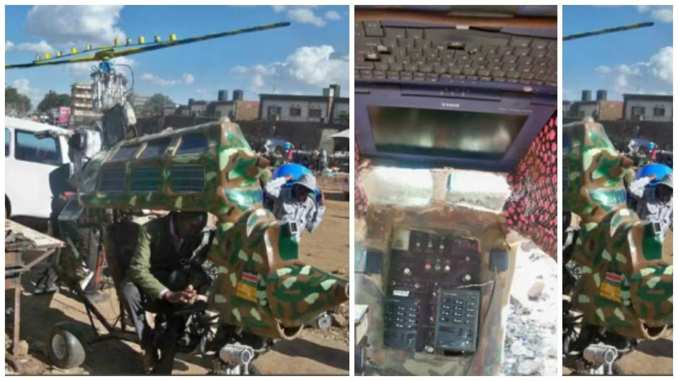 Kisumu man, 25, who never set foot in class, stuns Kenyans after he builds HELICOPTER from scratch (photos)