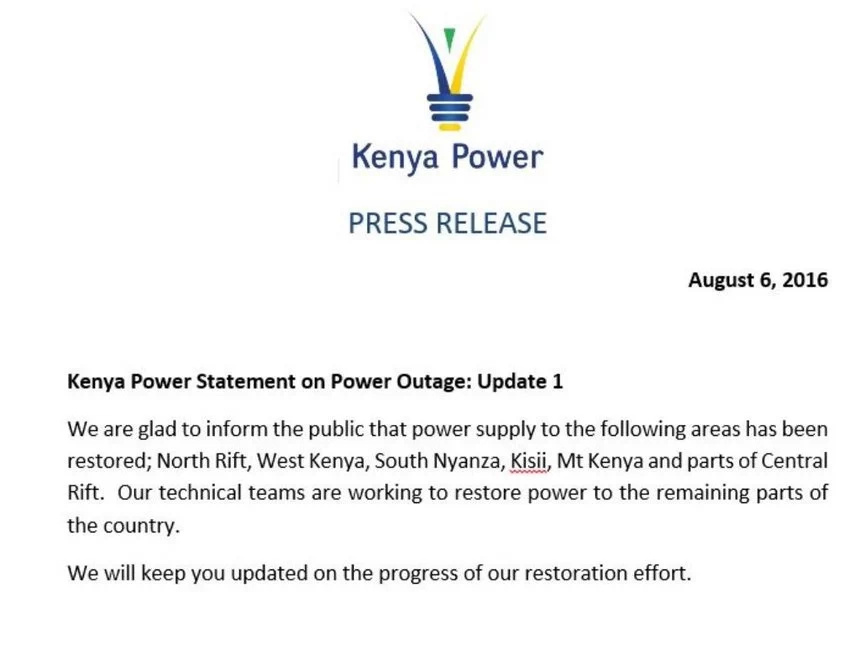 Technical problem blamed on countrywide blackout