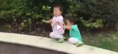 Kawawang mga bata! Cute Asian twin toddlers suffer heartbreaking accident while playing in backyard