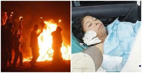 Pastor and congregation 'push' 25-year-old woman into BONFIRE to chase demons (photos, video)