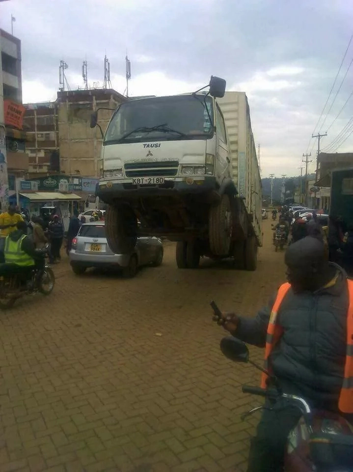 Is this Witchcraft?lorry ferrying stolen goods comes to a halt with front wheels in the air