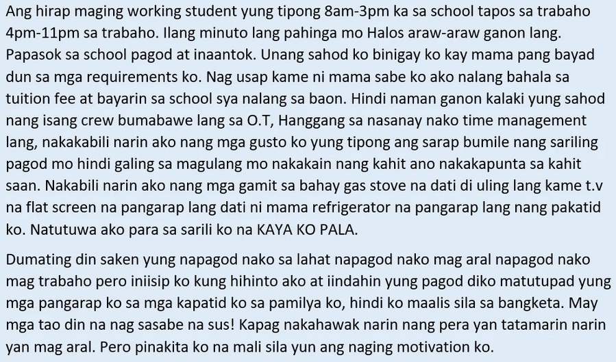 Sipag at tiyaga ang puhunan! Inspiring story of a working student and how he managed to juggle his job and studies