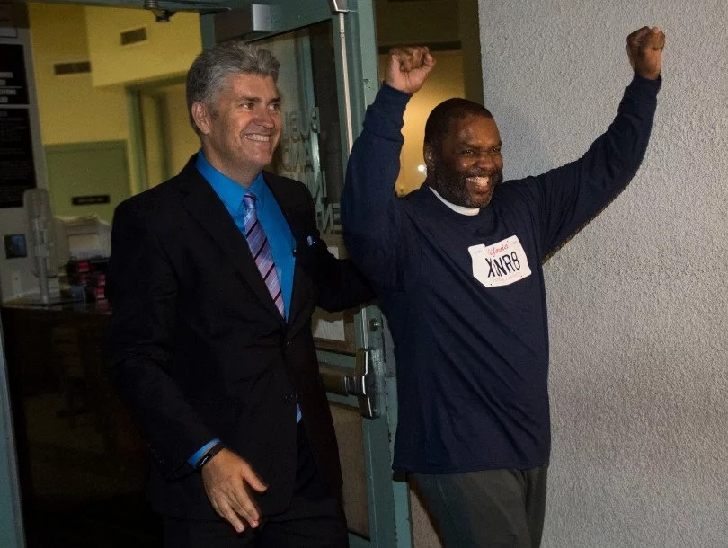 Guy Miles walks out of prison. Photo: Innocence Project