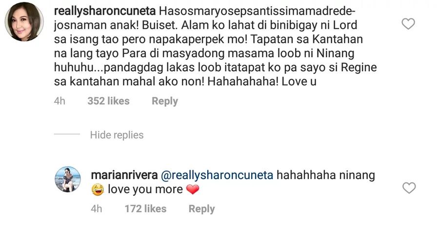 Di matalo sa figure kaya kantahan na lang! Sharon Cuneta challenges Marian Rivera to a sing-off