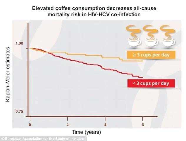 New study claims HIV patients who consume 3 cups of coffee daily double their survival chances