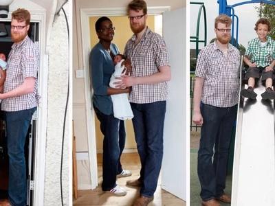 La pareja más alta del mundo da la bienvenida a un enorme hijo de 4 kilos para seguir la talla de 15 pasos de su padre