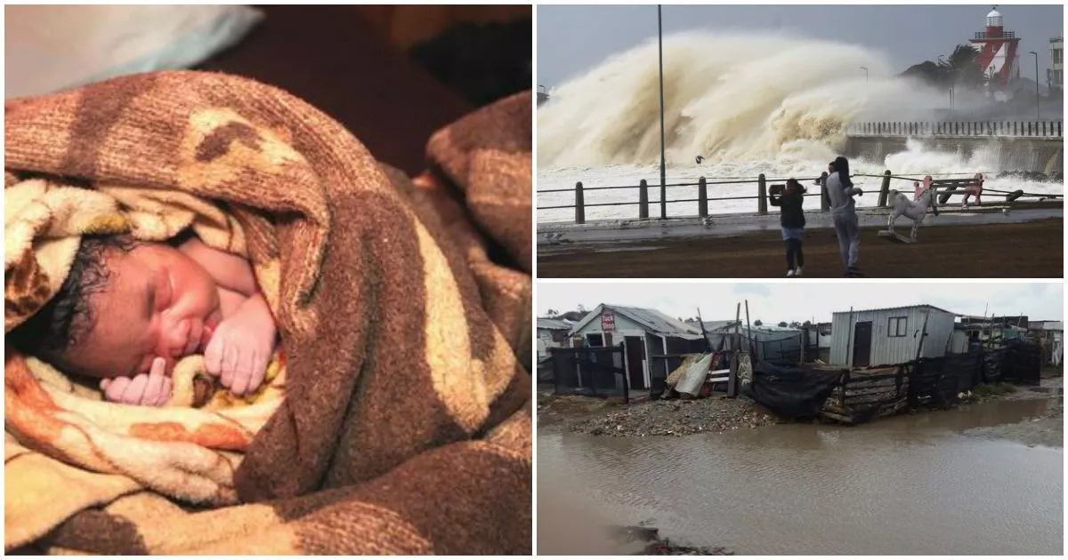 Pretty baby is delivered during massive storm in South Africa (photos)