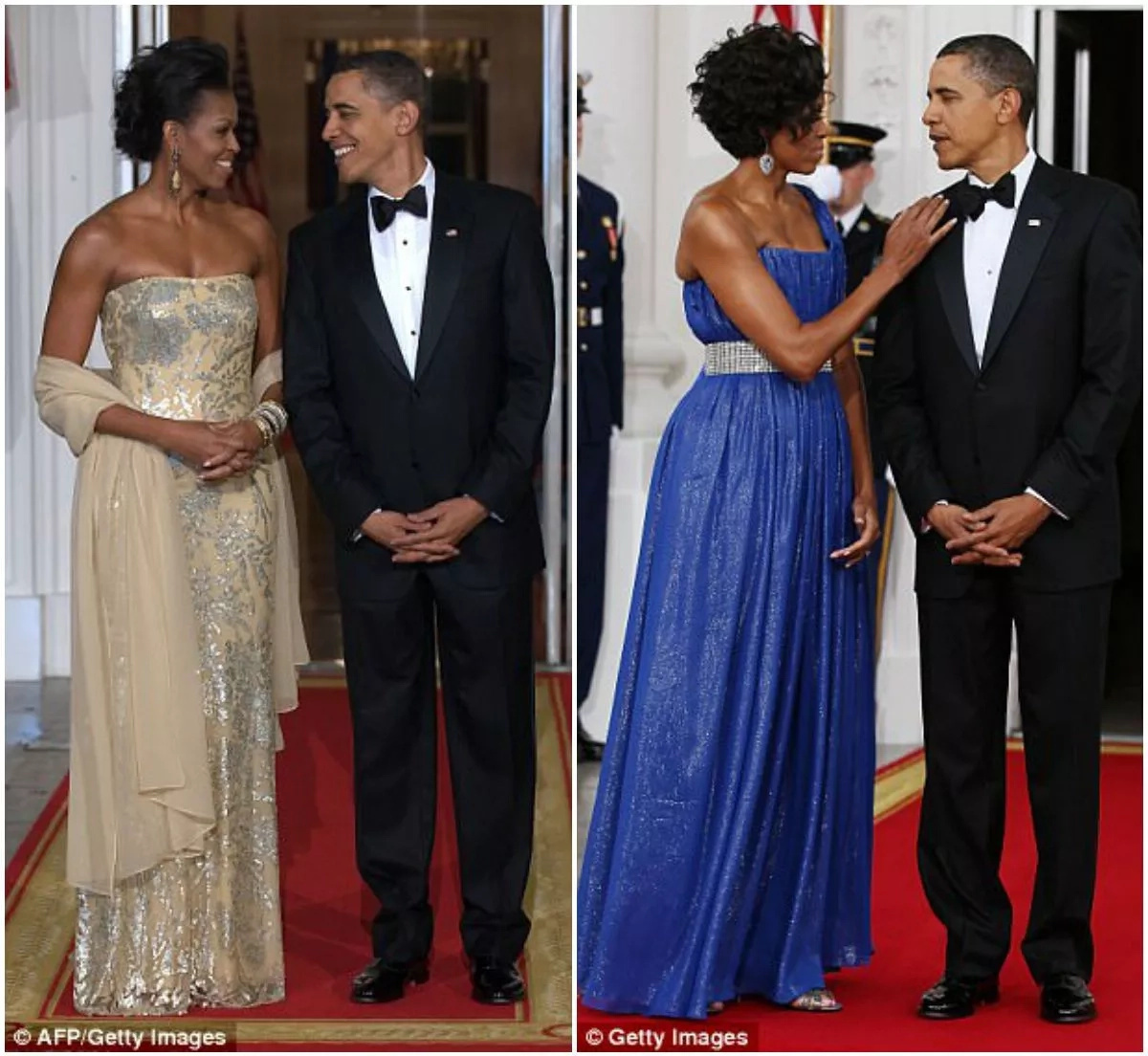 Michelle Obama said she had to choose her dresses carefully due to scrutiny, while Obama simply wore the same tuxedo and nobody noticed