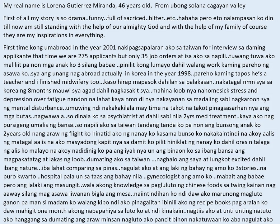Hirap at dalamhati ng isang Ina! OFW mom recounts her sufferings as a wife and the pain of being away with her children