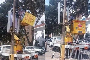 Jubilee politician who wants to run for Nairobi Governor gets his billboards pulled down by Kidero