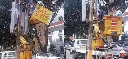 Kidero and his team remove Jubilee politician's billboards in Nairobi