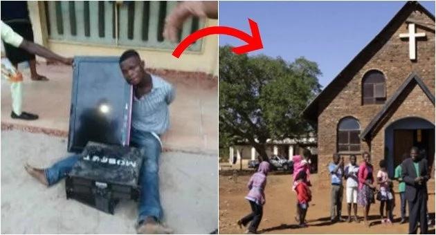 Kisanga baada ya jamaa kukamatwa baada ya kuiba kutoka kanisani