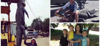 Massive catch! Brave mom-of-3 captures monster 3.8-meter alligator nealy three times her size