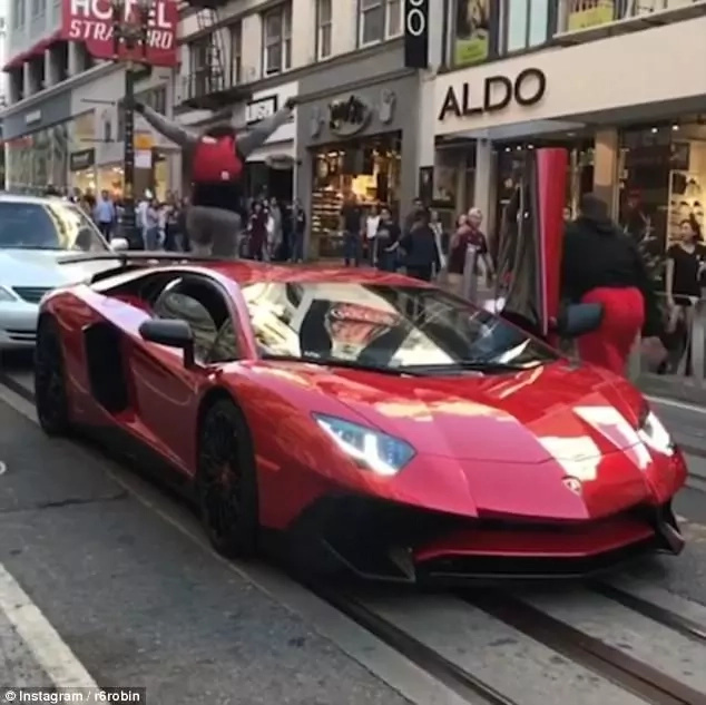 Shocking! Man leaps onto parked Ksh 42 million Lamborghini moments before he gets knocked out