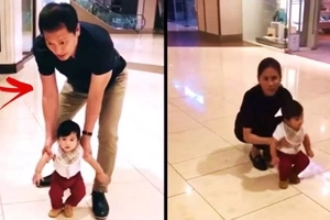 Grabe ka-sweet si lolo! Watch Toni Gonzaga and her daddy Bonoy teach baby Seve how to walk!