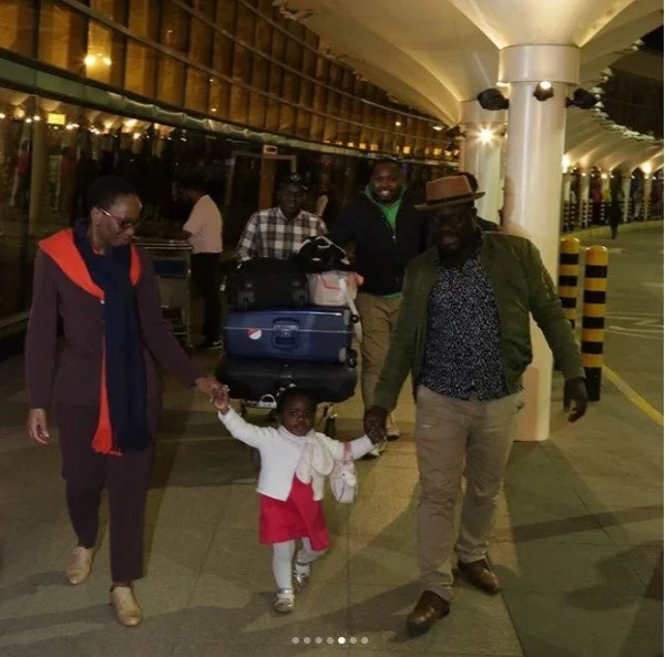 Cute photos of Gidi Gidi's daughter meeting her grandmother for the first time after the girl's return to Kenya from France