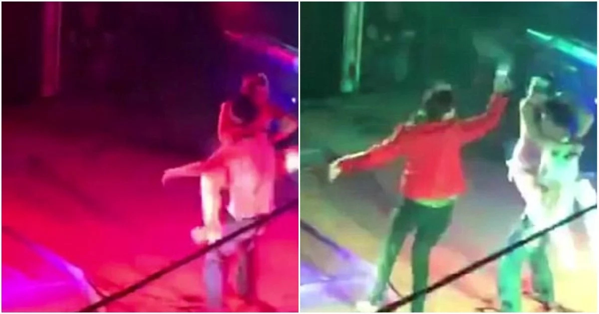 Dramatic moment wife rushes on stage and attacks husband for getting too close with dancer