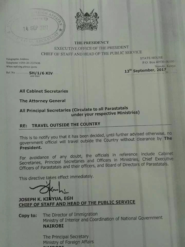 Government bans travel outside the country on all government officials
