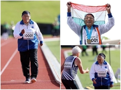 Impressive! 101-year-old woman wins 100m sprint, bags her 17th gold medal (photos)