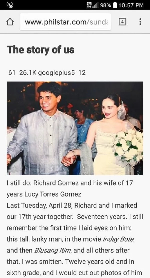 Ang buong kwento! The story of how Lucy Torres-Gomez and Richard Gomez met goes viral