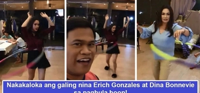 Ang gagaling pala nila! Erich Gonzales and Dina Bonnevie's hula hoop showdown amazes fellow teleserye actors and netizens