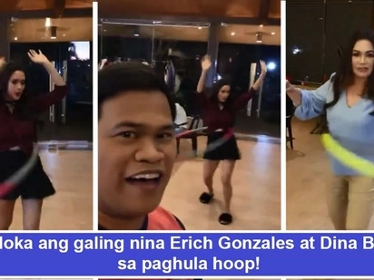 Ang gagaling pala nila! Erich Gonzales and Dina Bonnevie's hula hoop showdown amazes fellow teleserye actors and netizens