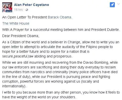 Cayetano writes open letter to Obama