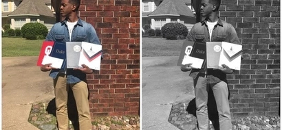 Wow! Teen leaves cousin in tears after he receives scholarships from 5 reputable universities (photos)
