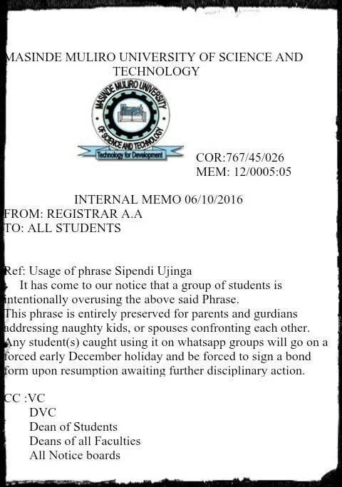 Memo ordering students to stop using 'Sipendi Ujinga!' leaks online