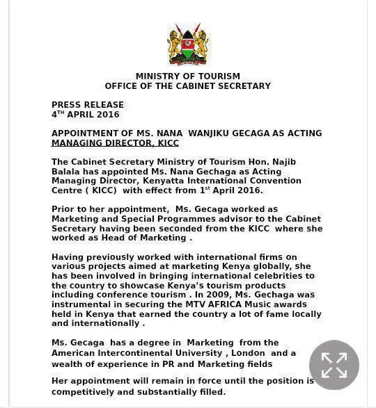 President Uhuru's niece tasked with managing KICC